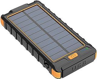 balikha 10 000 mAh solkraftbank 2 USB-port säker batteriladdare – orange