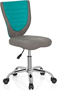 hjh OFFICE KIDDY COMFORT Grey Turquoise Fabric Kids Desk children s Swivel Chair