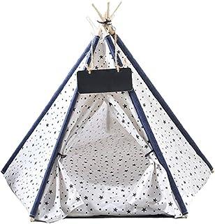 Lyxigt husdjur tipi-tält för hundar katter kaniner bärbar canvas hundtält kattbädd husdjur tipee hus med mjuk kudde för in...