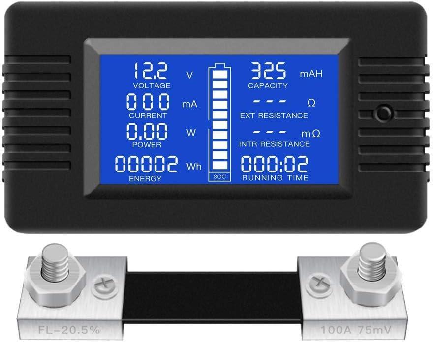 WFAANW DC Multifunción monitor de la batería del medidor Pantalla LCD digital de voltaje actual de la energía solar multímetro del amperímetro del voltímetro (ampliamente aplicado a 12V / 24V / 48V RV