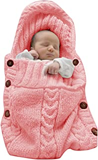 XMWEALTHY Newborn Baby Wrap Swaddle Blanket Knit Sleeping Bag Sleep Sack Stroller Wrap..
