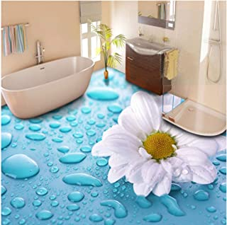 xbwy Modern Pastoral Flowers 3D Flooring Mural Photo Wallpaper Bathroom PVC Waterproof 3D Floor Sticker-120X100Cm