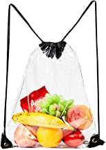 Clear Drawstring Bag,Transparent PVC Stadium Approved Drawstring Backpack for Work, Sports and Concerts