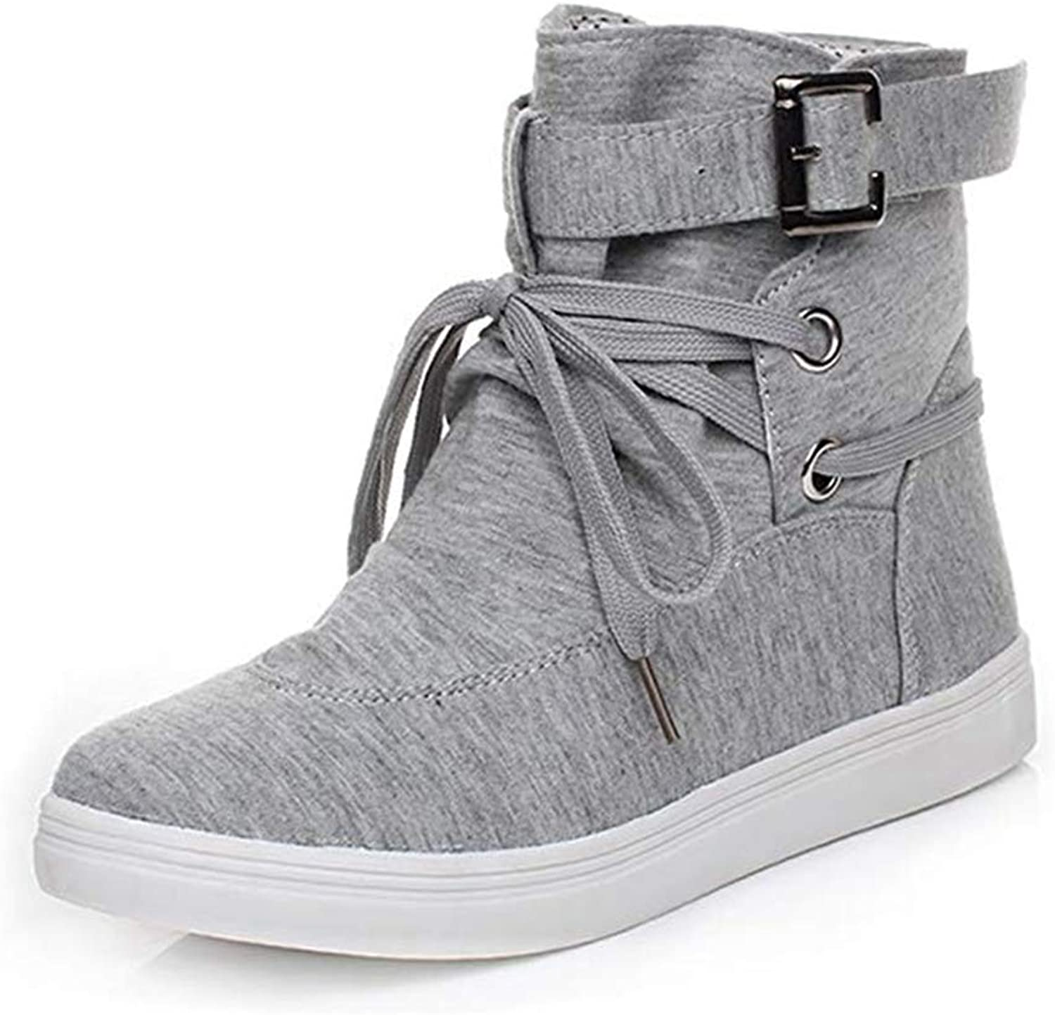 T-JULY Ladies Flat Boots Spring Autumn Winter Ankle Boots Solid Sneakers Buckle Canvas Women Boots High Top shoes
