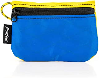 (Blue/Yellow) - Flowfold Mini Zipper Pouch Waterproof Small Zippered Pouches for Keys, Cards & AirPods Case (Blue)