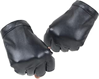 KWLET Women's Fingerless PU Leather Gloves Cycling Driving Motorcycle Performance Gloves, Black, One Size