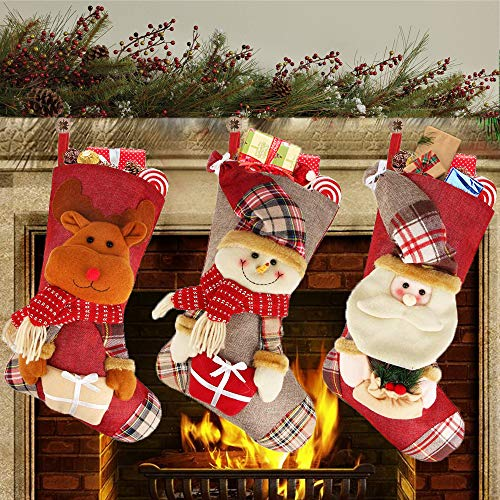 GugnRyAc 3er Set Weihnachtsstrumpf, Nikolausstiefel zum Befüllen, Nikolausstrumpf groß mit weihnachtlicher Stickerei, Hängende Strümpfe für Weihnachtsdeko (46 * 25 cm)
