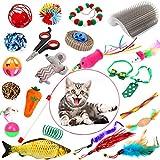 Juguetes para Gatos, 7 Start 23 Piezas Juguetes para Gatos interactivos, Juguetes para Peces Catnip, Juguetes para Paquete de Variedad para Gatitos con Juguete Interactivo con Plumas para Gatos