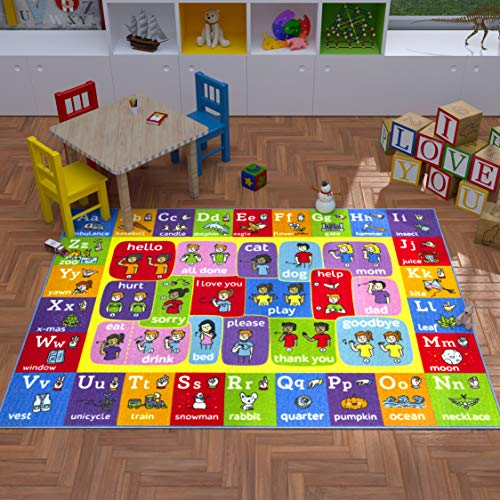 Playtime Collection ABC Alphabet ASL Sign Language Educational Learning Area Rug Carpet for Kids and Children Bedrooms and Playroom - 3' 3