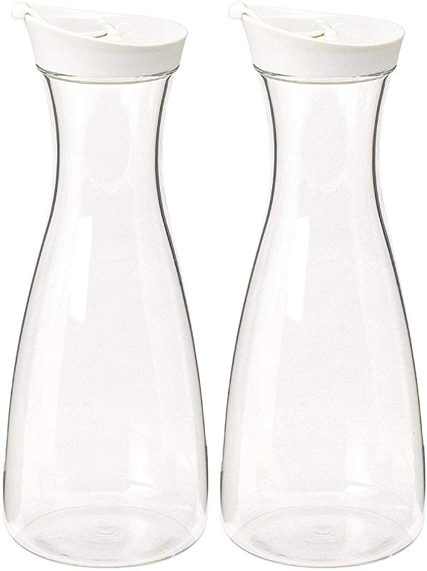 2 PK Large White Clear Plastic Carafe Pitcher Acrylic BPA Free 36 Oz 1 5 LT Premium Quality For Juice Water Wine Iced Tea Or Milk Not Suitable For Hot Drinks No Stickers 2
