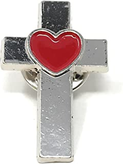 50 Bulk Christian Cross with Heart Lapel Pins