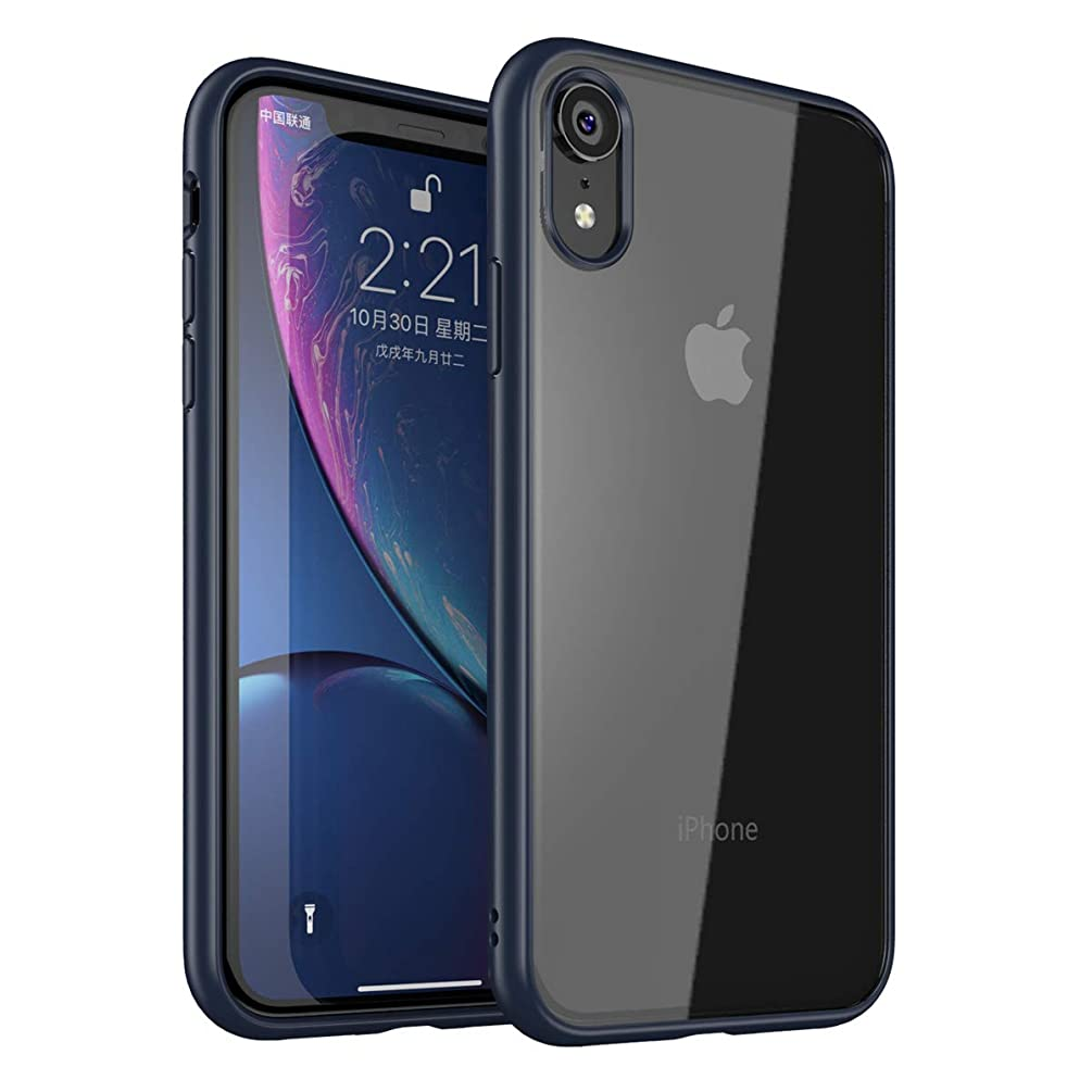 iPhone XR Case Slim Fit Ultra-Thin Clear Crystal Hybrid PC Soft TPU Rugged Lightweight Bumper Scratch Resistant Drop Shockproof Full-Body Protective Cover Compatible with Apple iPhone XR 6.1 Inch-Blue
