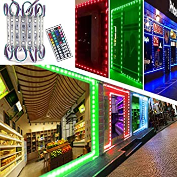 LED Storefront Lights Pomelotree 40ft 80 Pieces Waterproof Decorative Light for Letter Advertising Signs 4 Set 5050 SMD LED Light Module Storefront Window Strip Light RGB Light