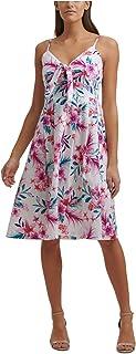 KENSIE Womens White Tie Floral Spaghetti Strap V Neck Knee Length A-Line Dress AU Size:18