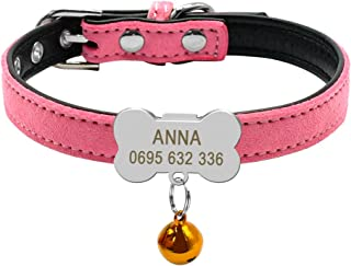 Didog Custom Puppy Collars,Personalized Soft Suede Leather Collars with Bone Shaped Slippable ID Tag for Small Dogs