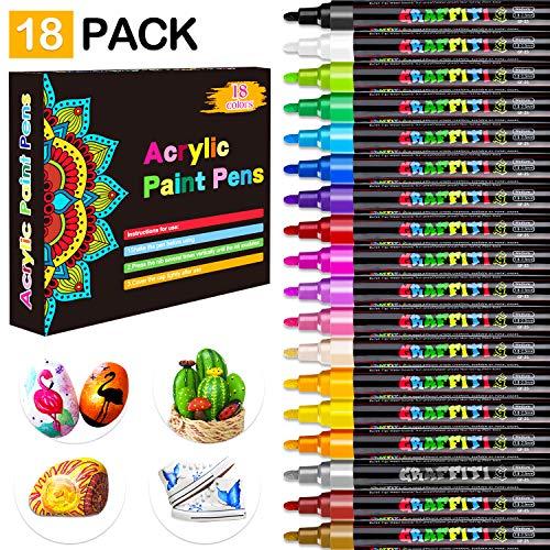 Rotuladores Metálicos, Emooqi Marker Pen Rotuladores de Colores 18 Multicolor Marcador Pens, para en Cualquier Superficie, Fabricación de Tarjetas Álbum de Bricolaje,Rotuladores de Pintura Acrílica