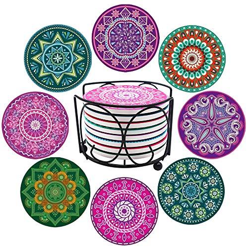 IYOYI Sottobicchieri per Bevande con Supporto 8 Pezzi Set sottobicchieri assorbenti in Ceramica riutilizzabili e Fondo in Sughero Regali per Gli Amici Decorazione Domestica