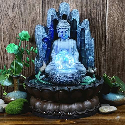 Nannday Fuente de Mesa de Buda, Fuente de Agua de Resina única para Adornos de hogar y Oficina, Escultura Decorativa con luz LED, Regalos para Amigos para la Buena Suerte(EU 220V)