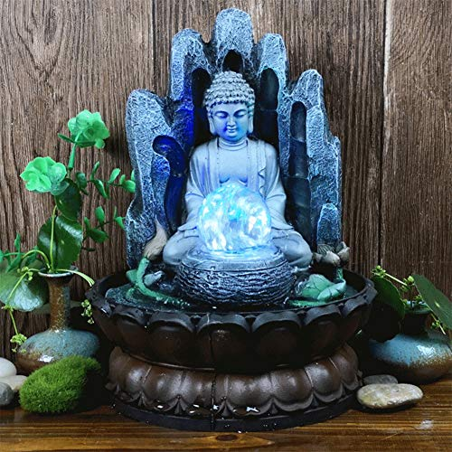【𝐄𝐚𝐬𝐭𝐞𝐫 𝐏𝐫𝐨𝐦𝐨𝐭𝐢𝐨𝐧】 Buddha Tabletop Fountain, Unique Resin Water Fountain for Home & Office Ornament, Decorative Sculpture with LED Light, Gifts for Friends for Good Luck( US 110V)