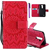 ISADENSER LG K7 Case LG Tribute 5 Case [Wallet Stand] as Case with Shockproof Credit Card Holder Flip Magnetic Closure Protection New PU Leather Wallet Case Cover for LG Tribute 5 Red Sunflower