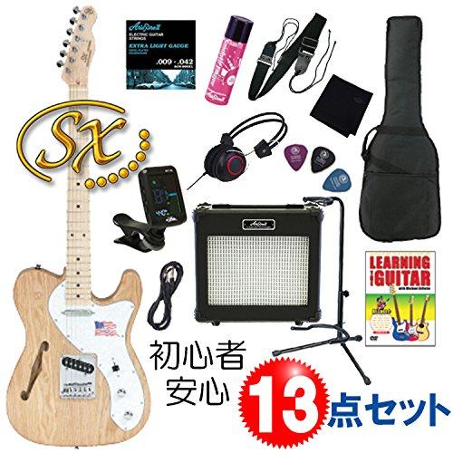 【初心者向け、完璧入門13点セット】SX KTL-300 NAT/テレキャスター シンライン タイプ/エレキギター・セット (NAT/ナチュラル)