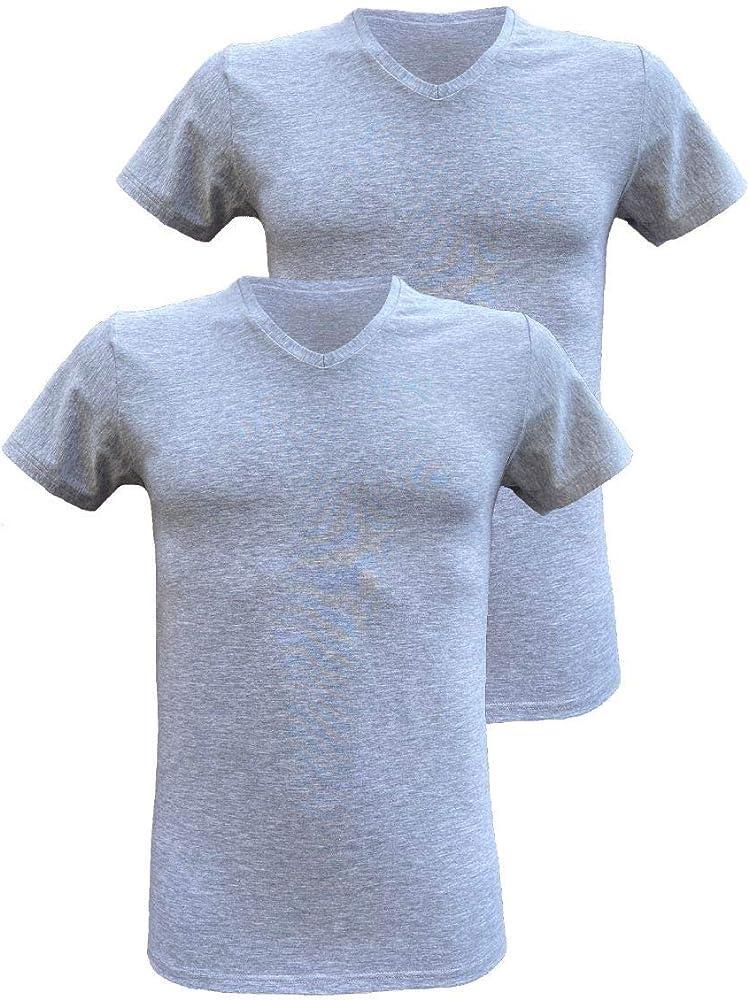 Armata di mare , 2 magliette interne per  uomo , in  cotone elasticizzato , scollo a v e manica corta GT 109C