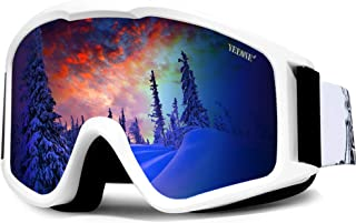 YEEONE Ski Snowboard Goggles Fit Over Glasses with Ski Mask, Anti Fog UV Protection Skating Goggles OTG Windproof Dual Lens Snow Goggles for Men Women