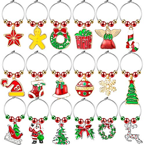 18 Pieces Christmas Wine Glass Hanging Charms Xmas Wine Glass Hanging Charms Set Christmas Wine Glass Hanging Markers Cute Wine Glass Tags for Christmas Party Home Kitchen Supplies