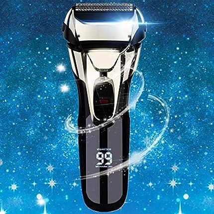 Vifycim - Maquinilla de afeitar eléctrica para hombre, afeitadora eléctrica para hombre y hombre, impermeable, afeitadora de papel de afeitar, máquina de afeitar inalámbrica facial, recargable con recortadora emergente LED para afeitarse cara marido papá