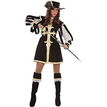 Juguetes Fantasia - Disfraz mosquetera negra adulto: Amazon.es ...