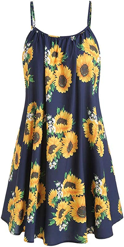 Women Dresses Casual Slash Neck Sleeveless Draped Sunflower Print Strap Mini Dress Pleated Summer Sun Dresses