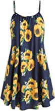 GateLie Womens Summer Sunflower Printed Vest Dresses Strap Sleeveless Vest Camisole Beach Holiday Mini Pleated Dress