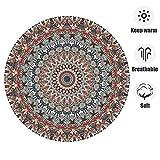 ZHOUAICHENG Vintage Druck runde Bereich Teppich marokko Mandala floral teppiche für Schlafzimmer Wohnzimmer kinderspielzimmer langlebigen Stoff,F,200CM