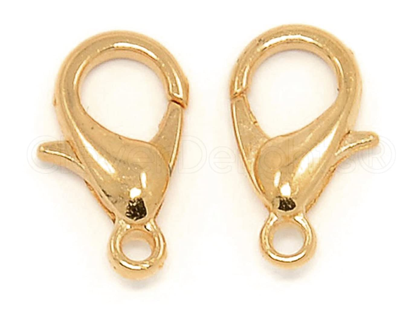CleverDelights 100 Lobster Clasps - 12x6mm - Champagne Gold Color - Jewelry Findings