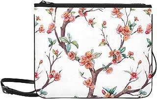 Watercolor Floral Pattern Cherry Flowering Trees Pattern Custom High-grade Nylon Slim Clutch Bag Cross-body Bag Shoulder Bag