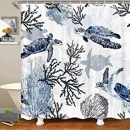 Turtle Bath Curtain Sketch Ocean Turtle Tie Dye Fabric Shower Curtains Deep Sea Reptile Animals Shower Curtain 72' W X 72' L
