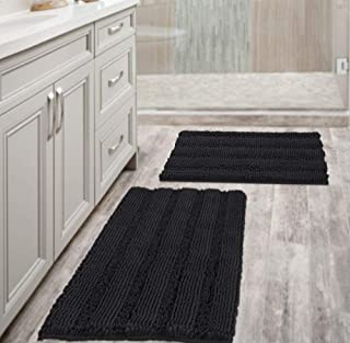 Non Slip Thick Shaggy Chenille Bathroom Rug Mat Set Extra Soft and Absorbent Striped Floor Rugs, 2 Piece, Machine-Washable...