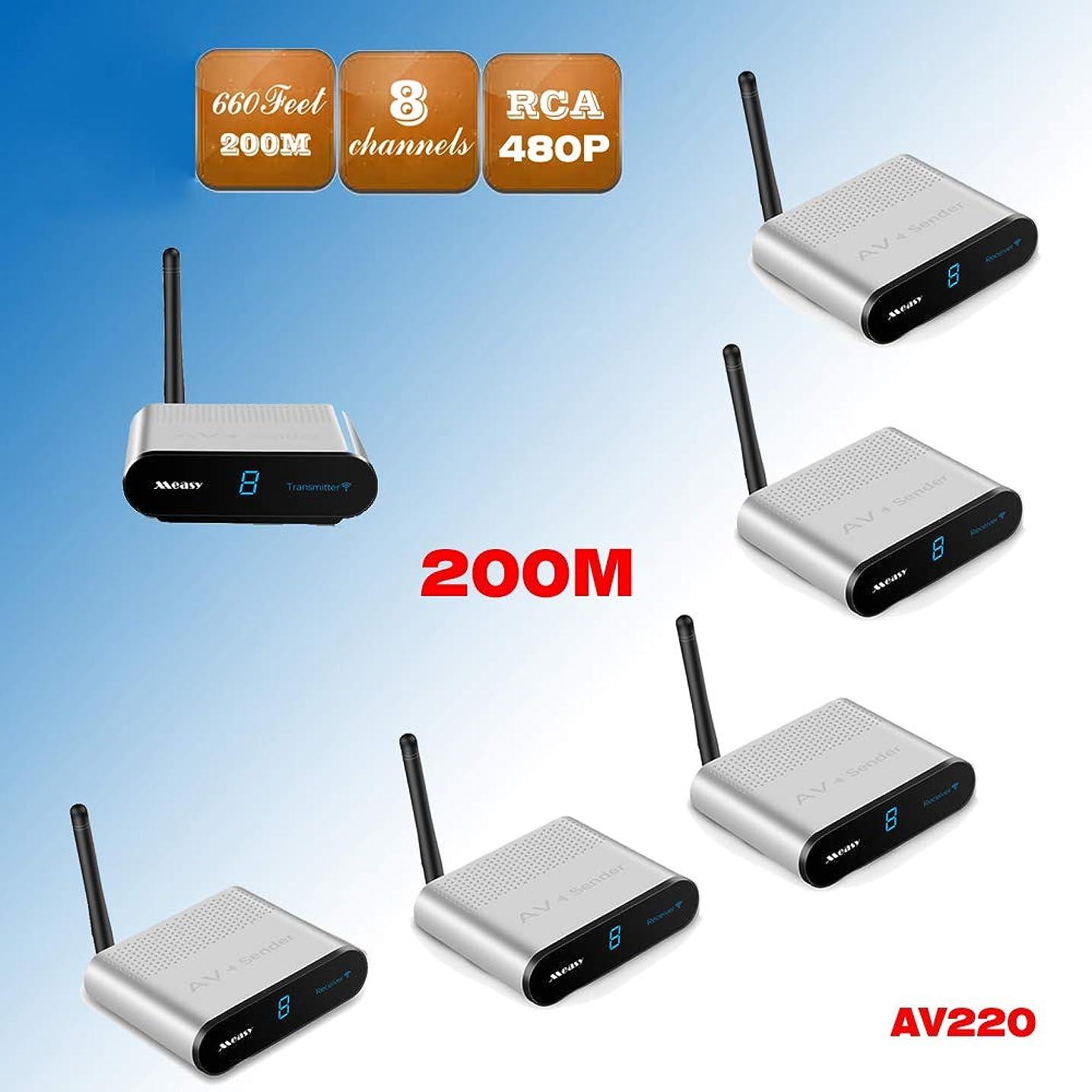 MEASY AV220-5 (1X5) 2.4G Wireless AV Audio & Video Sender Transmitter & Receiver System Support Transmission up to 200m/660 feet for DVD/DVR/IPTV/CCTV Camera/TV