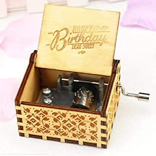 Zesta Wooden Hand Cranked Collectable Engraved Music Box (Happy Birthday)
