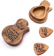 RuleaxAsi Coletor de suporte de caixa de picareta de ferro com 4pcs diferentes palhetas de madeira