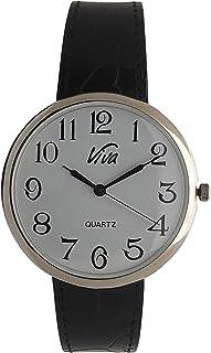 ساعة نسائية بوجه كبير نحيفة مع أرقام عربية سهلة القراءة وحزام جلد أصلي قابل للتعديل