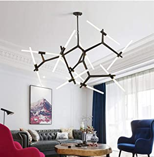 MoreChange DIY Modern Chandelier Industrial Metal Ceiling Light Fixtures Tree Branch Pendant Lighting Adjustable, G9 LED Lamp,Glass Shade (Black, 20 Lights)