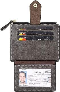 Badiya Slim Front Pocket Coin Purse Wallet with Zip for Men Women Credit Card Case