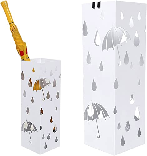 BAKAJI Porte-parapluies en fer design carré, blanc, bac anti-gouttes et crochets pour parapluies pliants, 49 x 15 x 1...