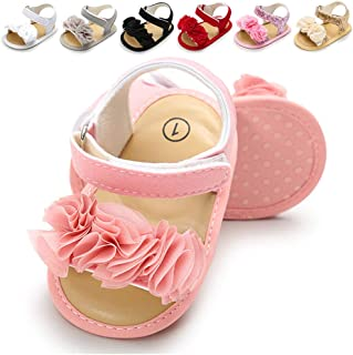 Infant Baby Girls Summer Sandals with Flower Soft Sole Newborn Toddler First Walker Crib Dress Shoes