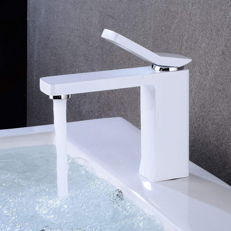 Rmckuva Bathroom Sink Taps Modern Creative Single Handle Faucet White Paint Brass Mixer