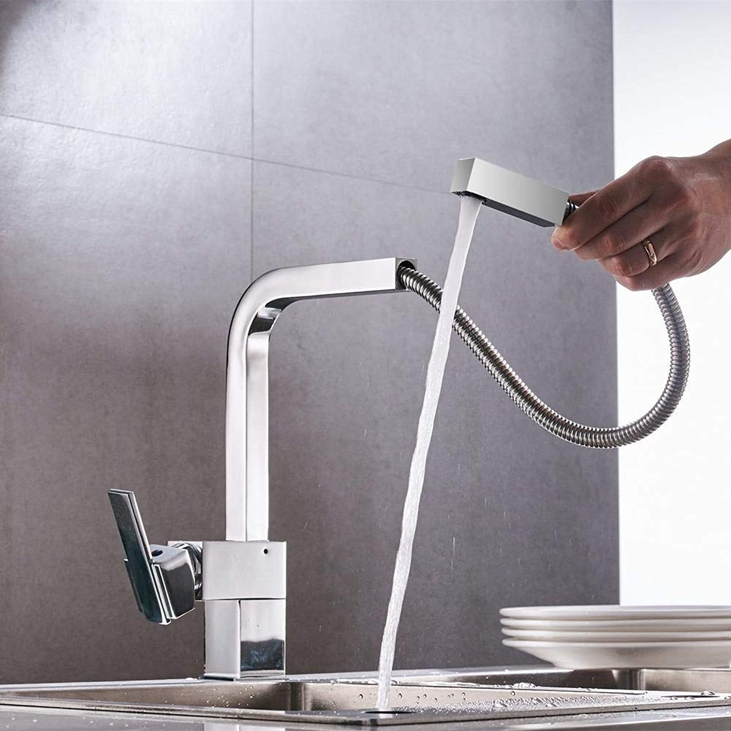 New Chrome Pull Out Kitchen Faucet Square Brass Sink Kitchen Faucets Pull Out Kitchen Tap Xt-18 (color   -, Size   -)