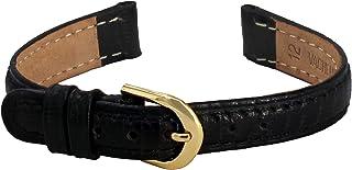 Citime Correa de Reloj de Piel, Color Negro Hebilla Ardillón, Correa 12mm - B12BlkItr4G