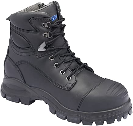 Blundstone 997 Work Boots, Black, Zip Sided, Steel Toe Safety, 150mm.