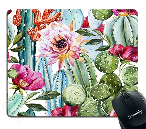 Smooffly Cactus Gaming Mouse Pad,Watercolor with Flowers Roses and Cactus Mouse Pad 9.5 X 7.9 Inch (240mmX200mmX3mm)